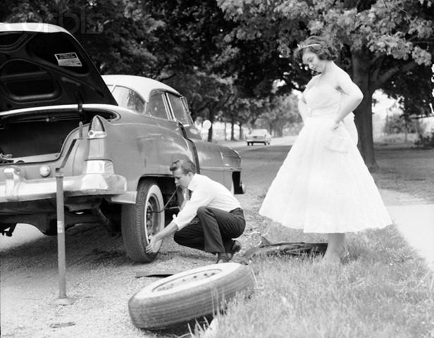 Flat tire in formal attire